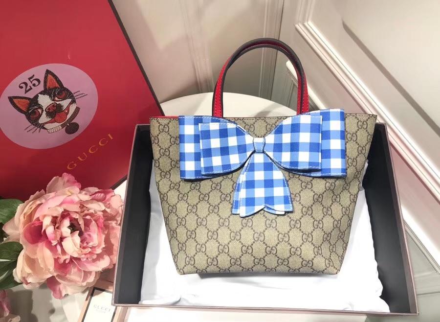 Gucci最萌的mini蝴蝶结卡通购物袋 501804 蓝色蝴蝶结 撩翻你的少女心 风靡时尚 21×20×10cm
