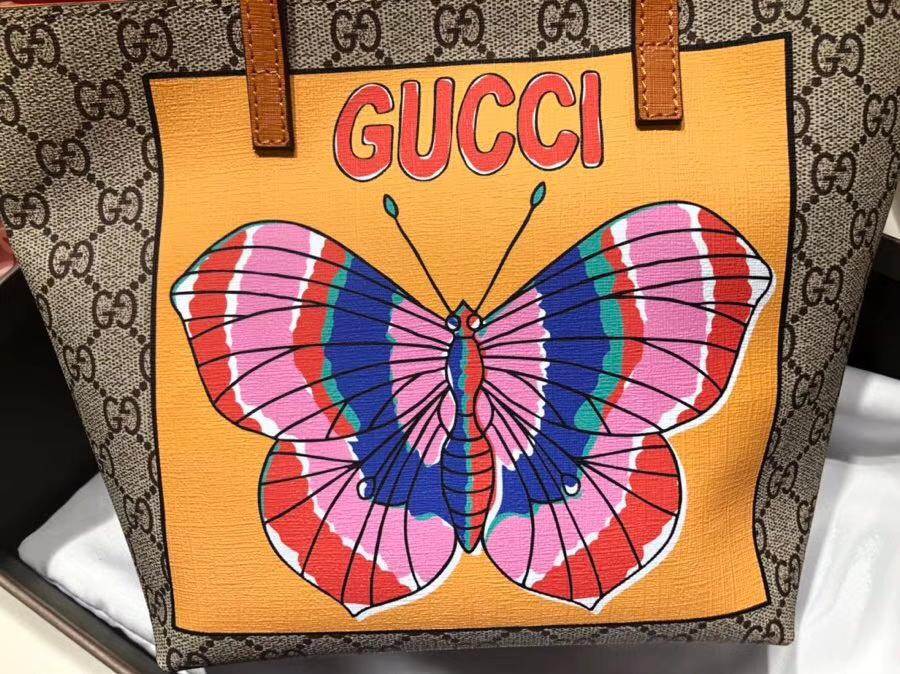 Gucci最萌的mini印花蝴蝶卡通购物袋 501804 撩翻你的少女心 风靡时尚 21×20×10cm