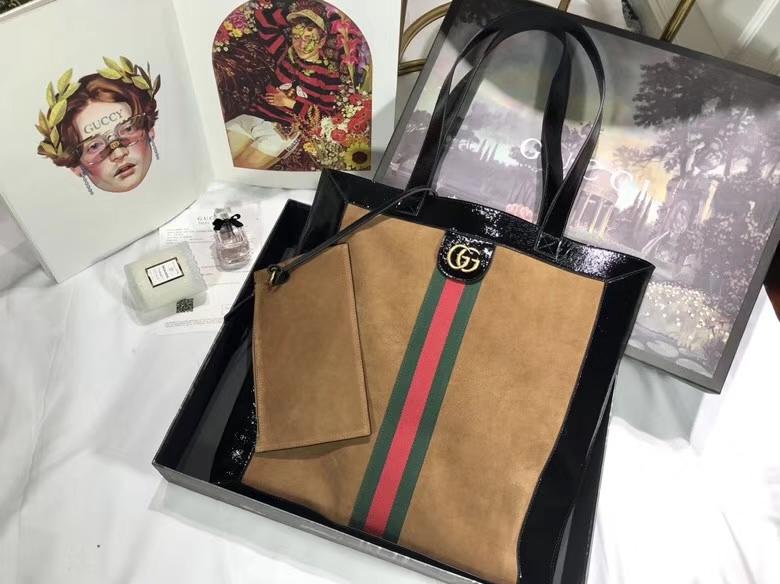 GUCCI 2018最新购物袋 超级大包很能装包配小pouch 519335驼色 搭配红绿条 复古韵味 41×43×5.5cm