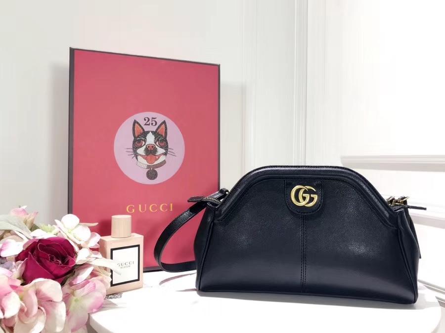 Gucci最新主打RE(BELLE)系列mini手袋 524620 黑色 天然粒纹皮革 手感超赞 经典品牌标志双G造型 猫科动物头像造型 29×18×7cm