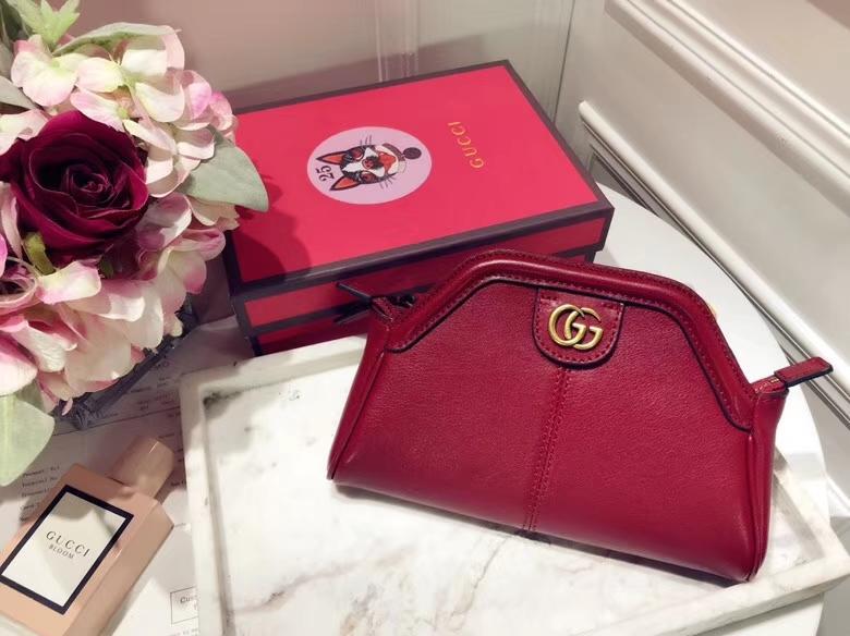 Gucci最新主打RE(BELLE)系列mini手袋 524620 红色 天然牛皮 手感超赞 经典品牌标志双G造型 29×18×7cm