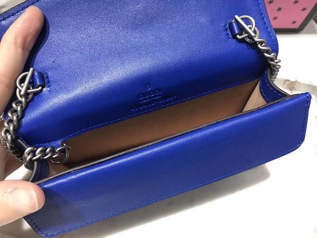 GUCCI 最新Nano Dionysus手袋 476432 宝蓝色  一款Mini 丝绒酒神包 可爱又迷你 夏天不可缺 16.5cm