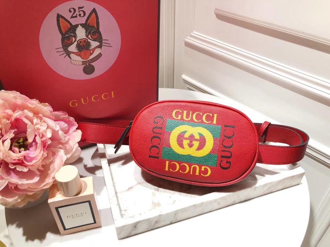 Gucci新款涂鸦腰包 476434 红色 皮质软 逆袭整个时尚圈 搭配个性风格 Plus手机绰绰有余 18×11×5cm