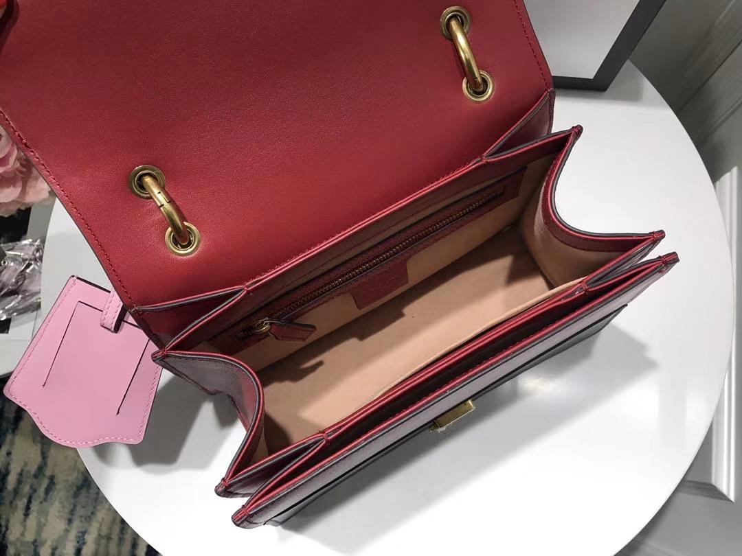 GUCCI古驰最新款玛格丽特皇后蜜蜂系列476542 红蓝配 抢眼的五金装饰搭配 22.5×18.5×6.5cm