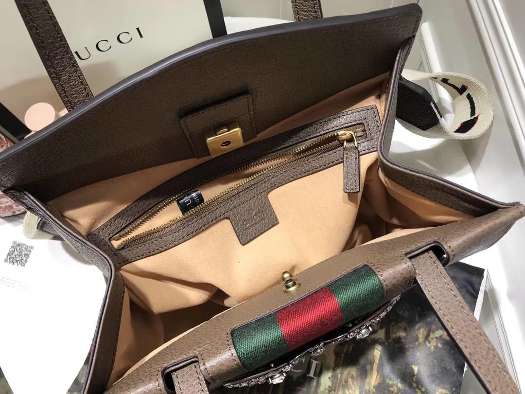 GUCCI古驰最新Tmtem系列熠熠生辉的水晶 505342 咖啡色 搭配提花条纹肩带 30.5×23×12cm