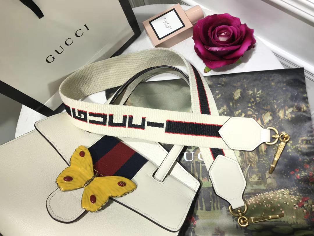 GUCCI古驰最新Tmtem系列熠熠生辉的水晶 505342 白色 搭配提花条纹肩带 30.5×23×12cm