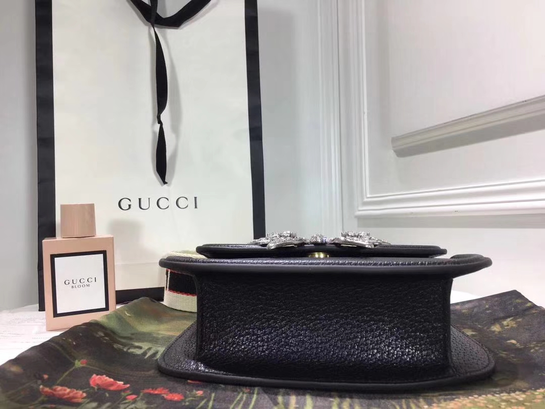 GUCCI古驰2018年最新Totem新款镶钻桃心马鞍包 505387 黑色 复古风格显示的淋漓尽致 20×15.5×5.5