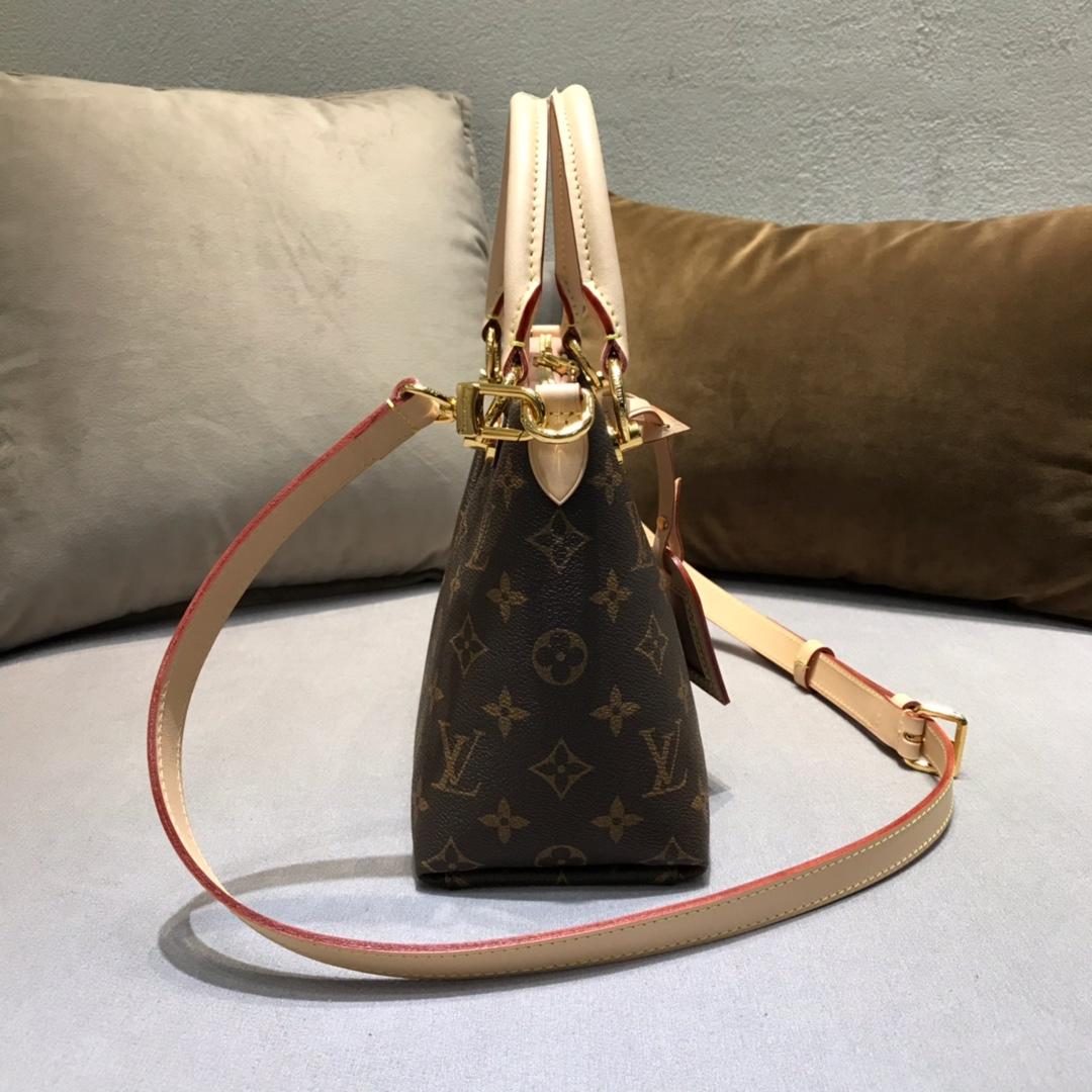 秋冬新出炉 LV TOTE手袋小号43724 经典帆布和小牛皮拼接 中间V字型设计 皮质软而轻