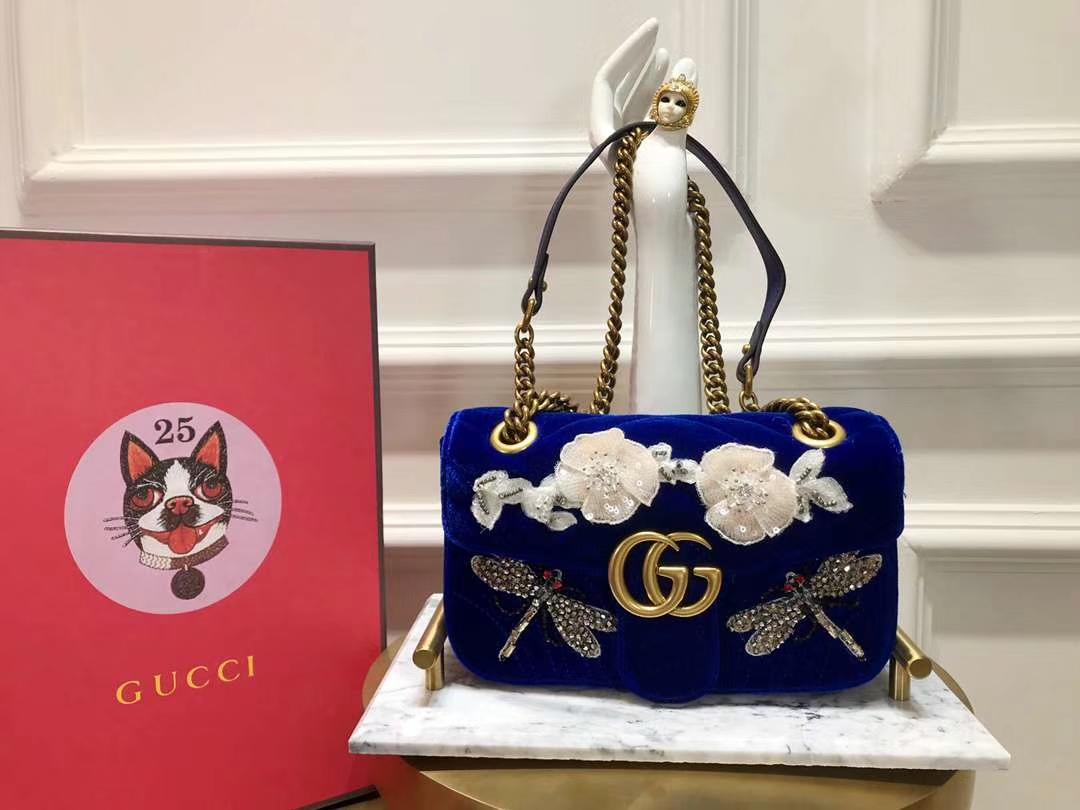 GUCCI(古驰)Marmont 花朵刺绣条包 446744 深蓝色 天鹅丝绒 时尚博主名模明星最新爱宠小包 22cm