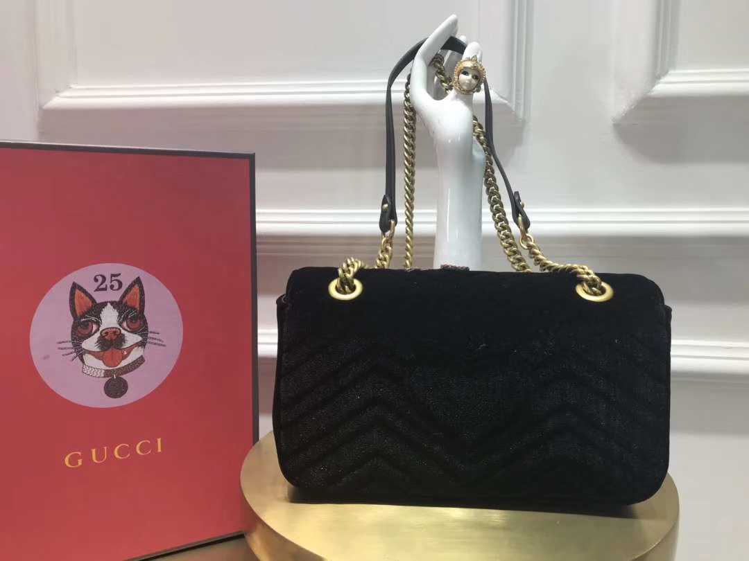 GUCCI(古驰)Marmont特别系列手袋 443497 黑色 闪亮的金属感亮片刺绣 26cm
