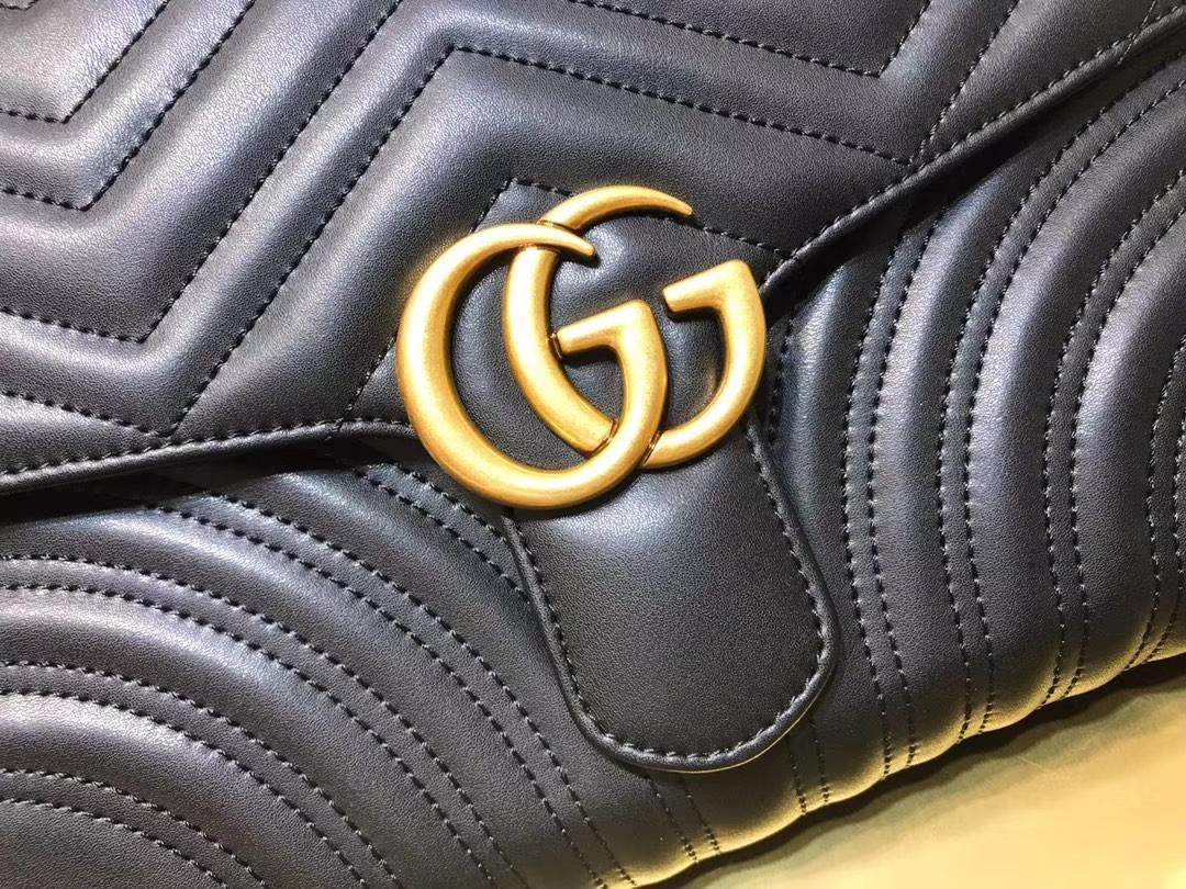 GUCCI(古驰)最新款包波浪纹链条包 498079 黑色 精选小牛皮 定制正品黄铜大五金 30×20×4cm