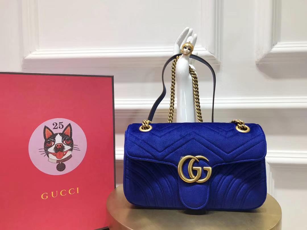 GUCCI(古驰)最新Marmont 绗缝波浪纹链条包 443497 深蓝色 天鹅丝绒 时尚博主名模明星新爱宠小包 26cm