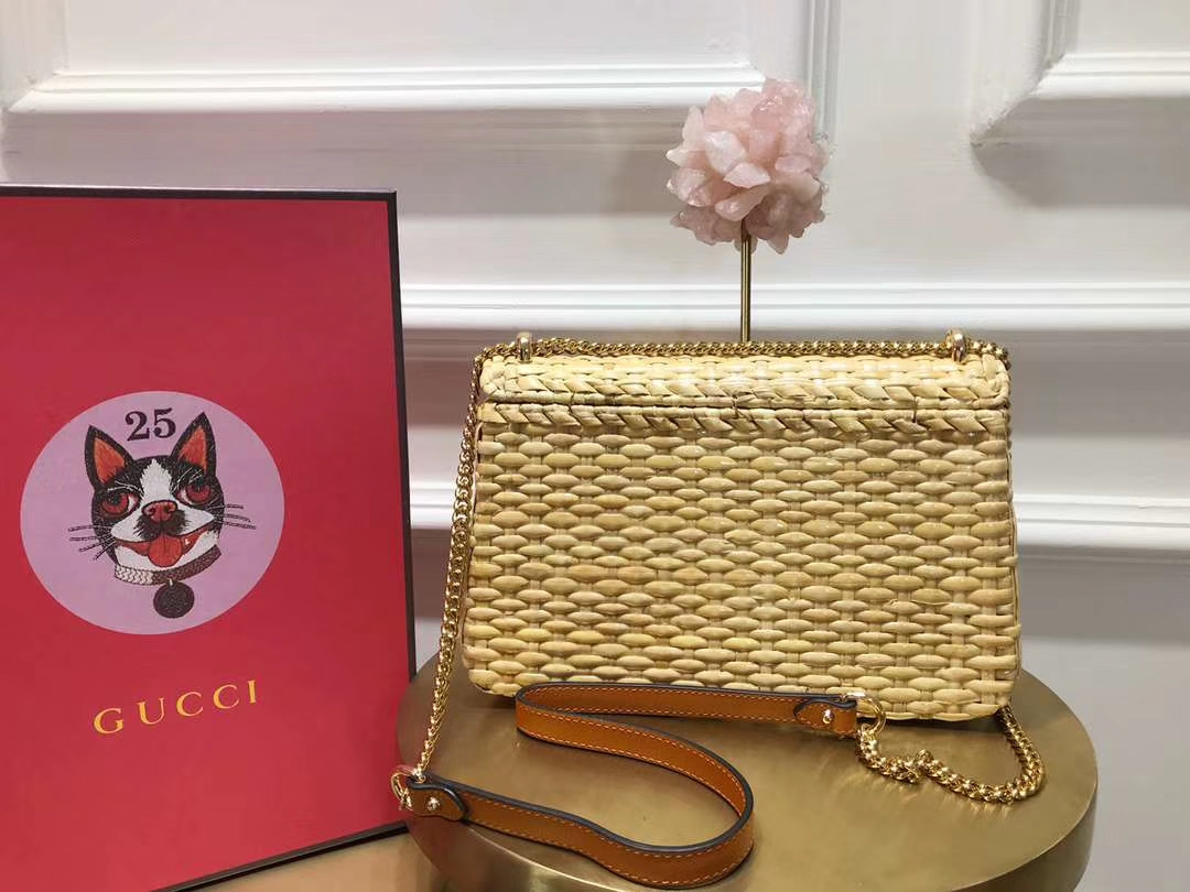 GUCCI(古驰)藤条编织包链条包 金色 加了封层清漆质感光滑 清爽又小可爱小巧精致