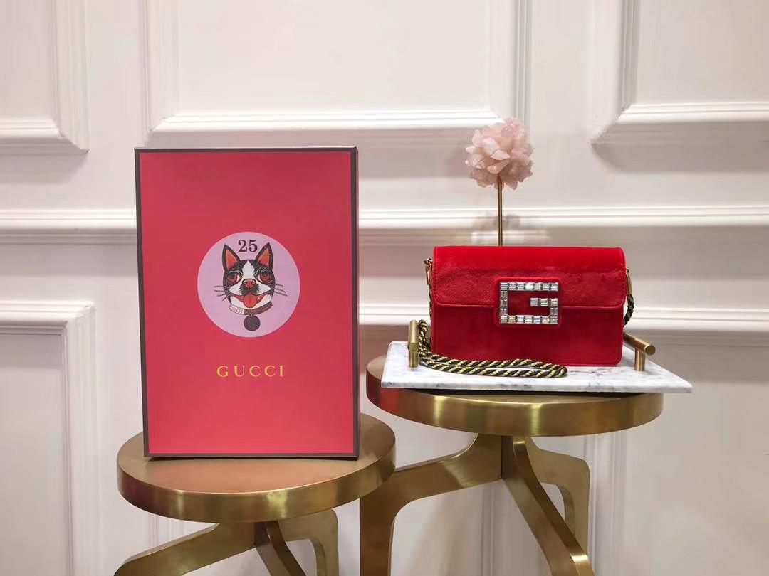 GUCCI(古驰)新款超mini丝绒链条包手包 544242 红色 丝绒搭配经典G造型加入闪亮水晶 奢华 闪耀