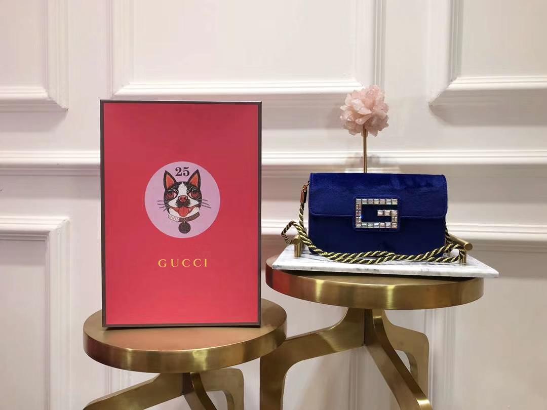 GUCCI(古驰)新款超mini丝绒链条包手包 544242 深蓝色 丝绒搭配经典G造型加入闪亮水晶 奢华 闪耀