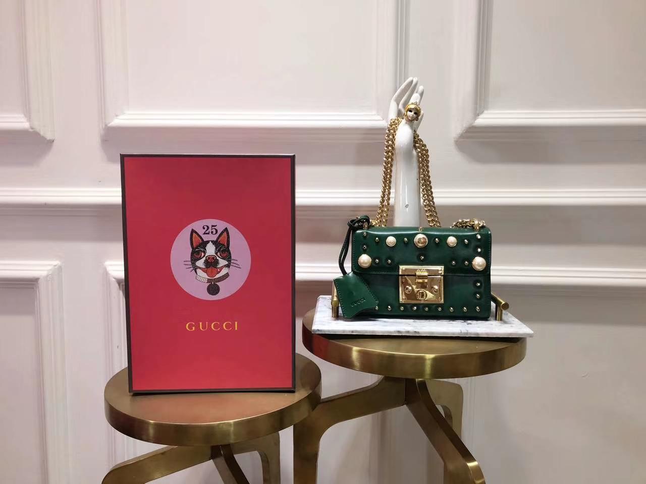 GUCCI(古驰)Padlock 432182 墨绿色 刺绣系列展现温婉动人 甜蜜特别的创意 20×15.5×5cm