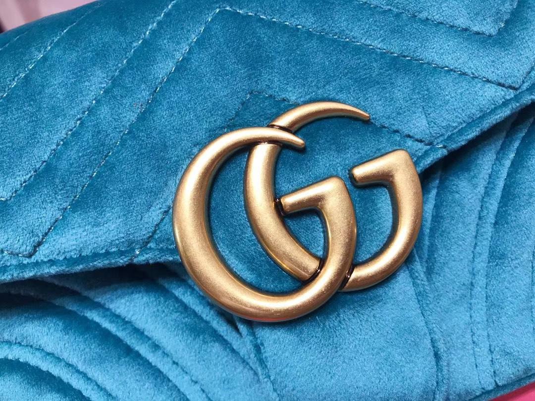 GUCCI(古驰)最新Marmont 绗缝链带波浪纹肩背包 446744 湖蓝色 天鹅丝绒面料 名模明星最新爱宠