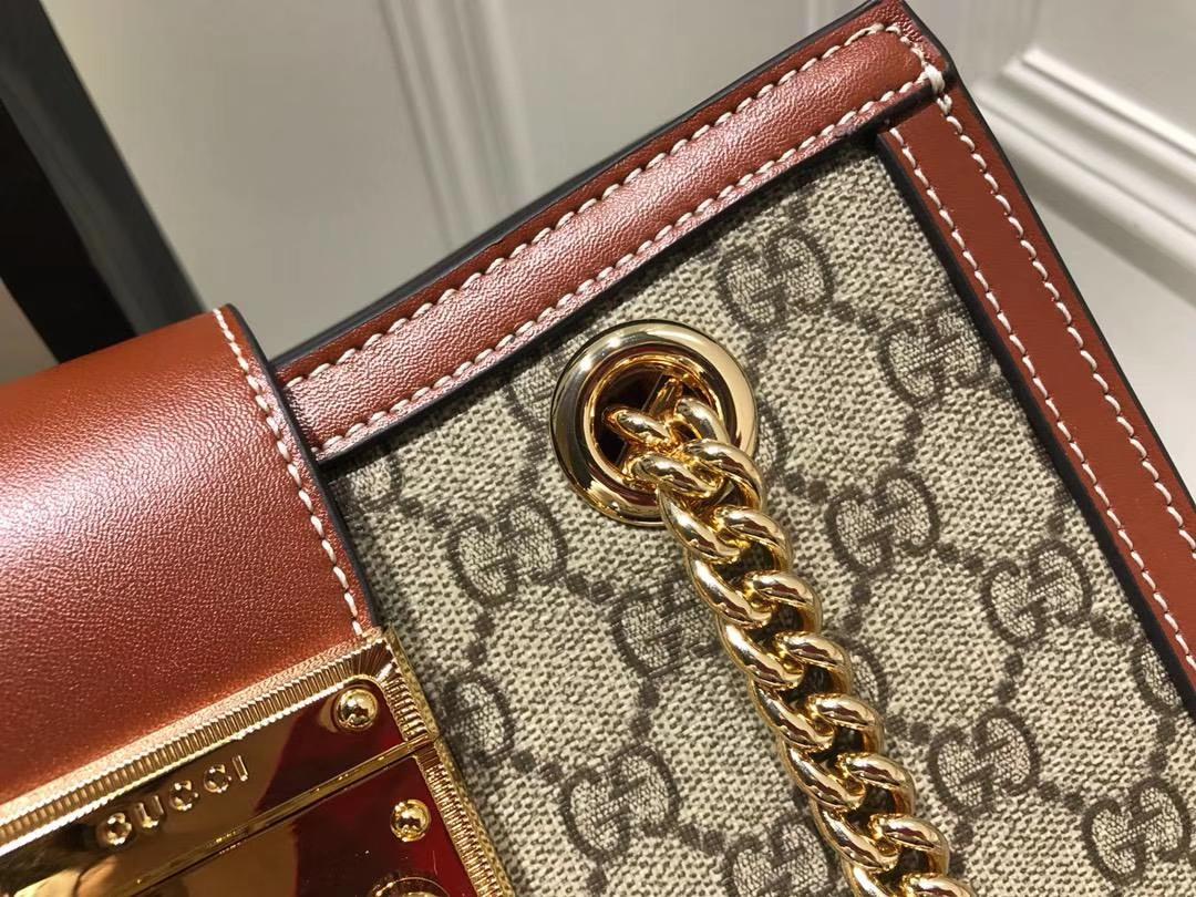 GUCCI(古驰)最新款百搭padlock最火包 498156 复古啡色 犹如文艺少女的时光宝盒 26×18×10cm