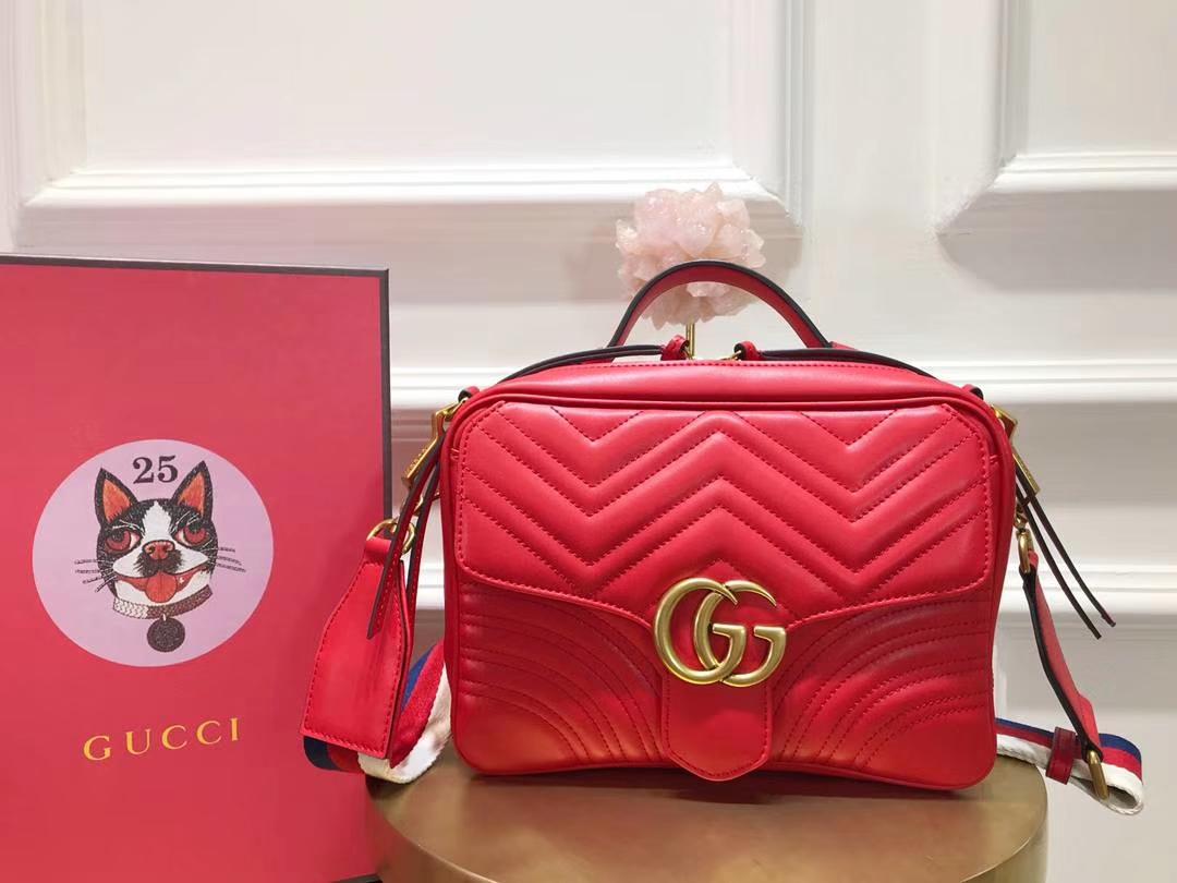 GUCCI(古驰)Marmont绗缝波浪纹肩背包 498100 红色 双G logo 文艺浪漫 手提式新系列 25×19×8cm