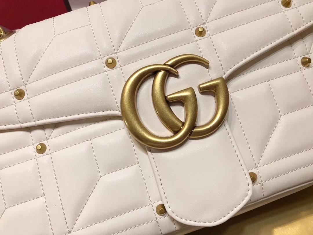 GUCCI(古驰)Marmont 绗缝链条波浪纹肩背包 443496 白色 柳丁元素 名模明星最新爱宠 31×19×7cm