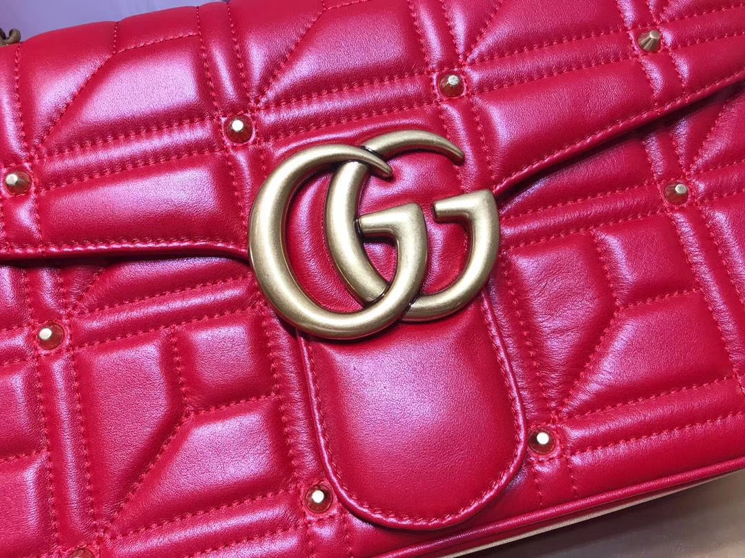 GUCCI(古驰)Marmont 绗缝链条波浪纹肩背包 443496 红色 柳丁元素 名模明星最新爱宠 31×19×7cm