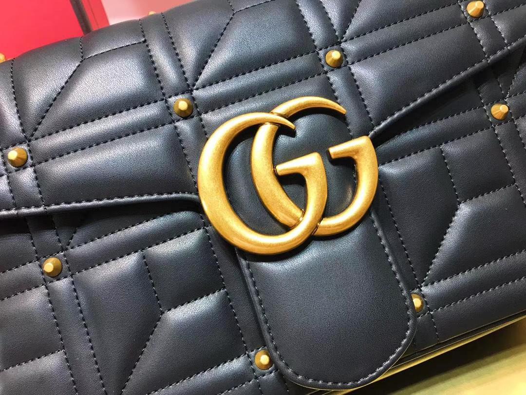 GUCCI(古驰)Marmont 绗缝链条波浪纹肩背包 443496 黑色 柳丁元素 名模明星最新爱宠 31×19×7cm