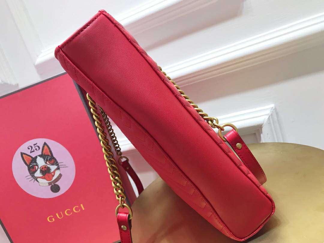 GUCCI(古驰)Marmont 绗缝链条波浪纹肩背包 524578 红色 牛皮面料 名模明星最新爱宠 39×27.5×6cm
