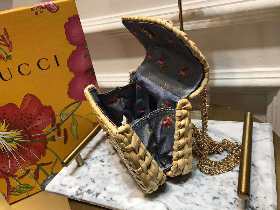 GUCCI(古驰)藤条编织链条包 524829 金色 加了封层清漆质感光滑 特别吸睛 可爱小巧精致 16.5×11×6cm
