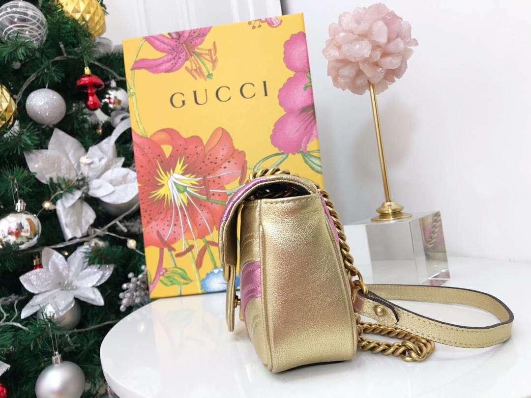GUCCI(古驰)特别限量款 Marmont 手袋 446744 金粉色 少女感满满 闪闪金属质感 假日气息 22×13×6cm