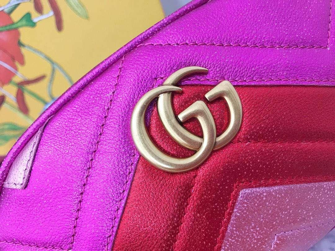 GUCCI(古驰)特别限量款 Marmont 手袋 446734 玫红色 少女感满满 闪闪金属质感 遇见与假日气息最配的金属配色 18cm