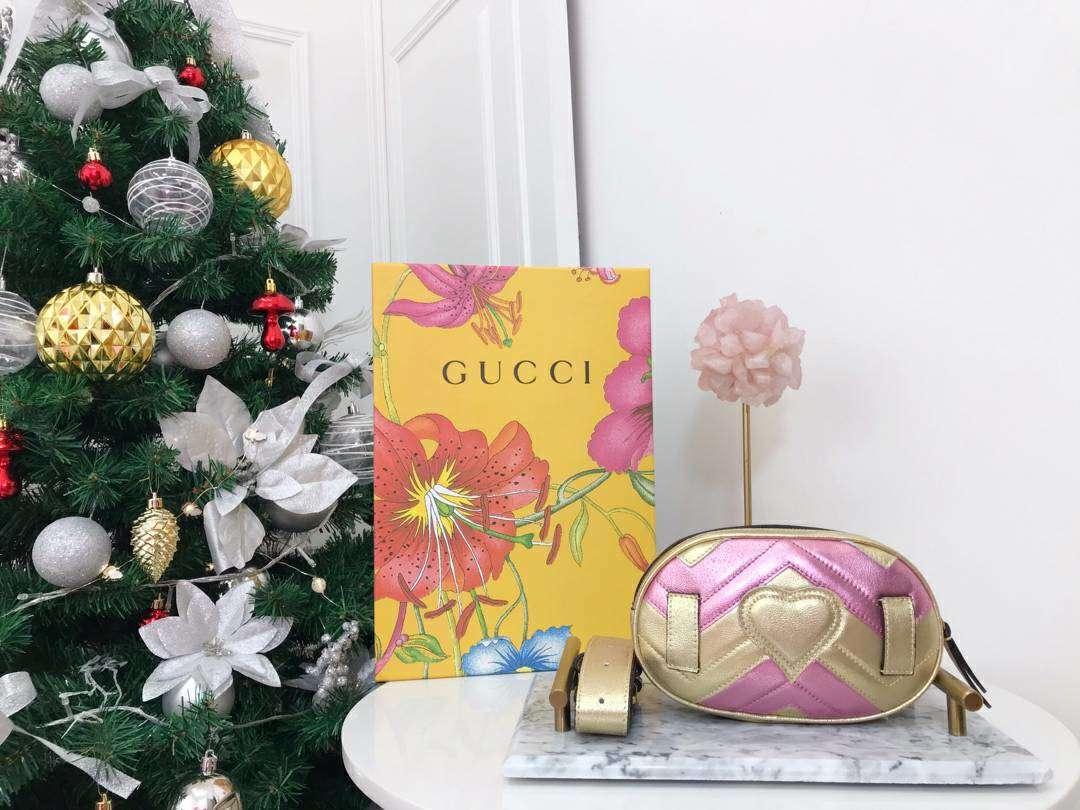 GUCCI(古驰)特别限量款 Marmont 手袋 446734 金粉色 少女感满满 闪闪金属质感 遇见与假日气息最配的金属配色 18cm