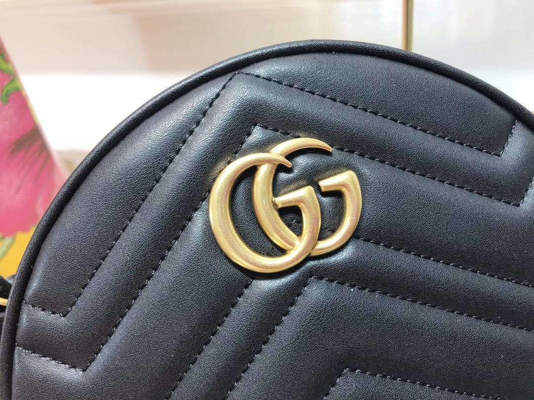 GUCCI(古驰)Marmont 全新圆形斜挎包 550154 黑色 标志性的双G logo 复古而华丽 18.5×18.5×6.5cm