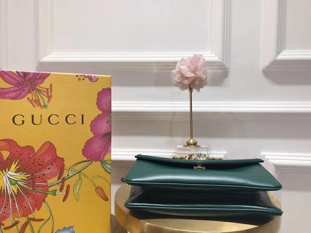 GUCCI(古驰)全新水钻琳琅虎头链条包 537241 墨绿色 Alessandro Michele 极致浮夸复古文艺 27×17×6.5cm