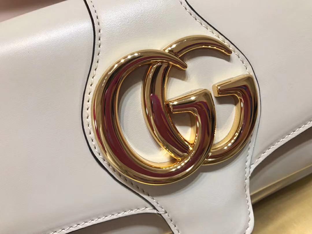GUCCI(古驰)小号肩背包 550129 白色 夸张翻盖设计 双G造型配件 复古 25×16×5.5cm