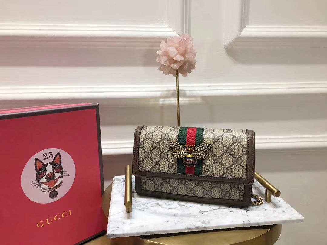 GUCCI(古驰)最新玛格丽特皇后链子包 476079 啡色镶边 蜜蜂装饰玻璃珠和彩色水晶 原厂皮革 20×12×4cm