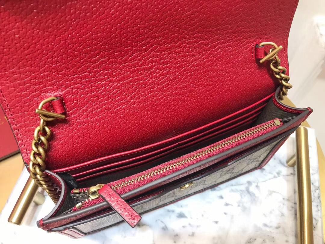 GUCCI(古驰)最新玛格丽特皇后链子包 476079 红色镶边 蜜蜂装饰玻璃珠和彩色水晶 原厂皮革 20×12×4cm