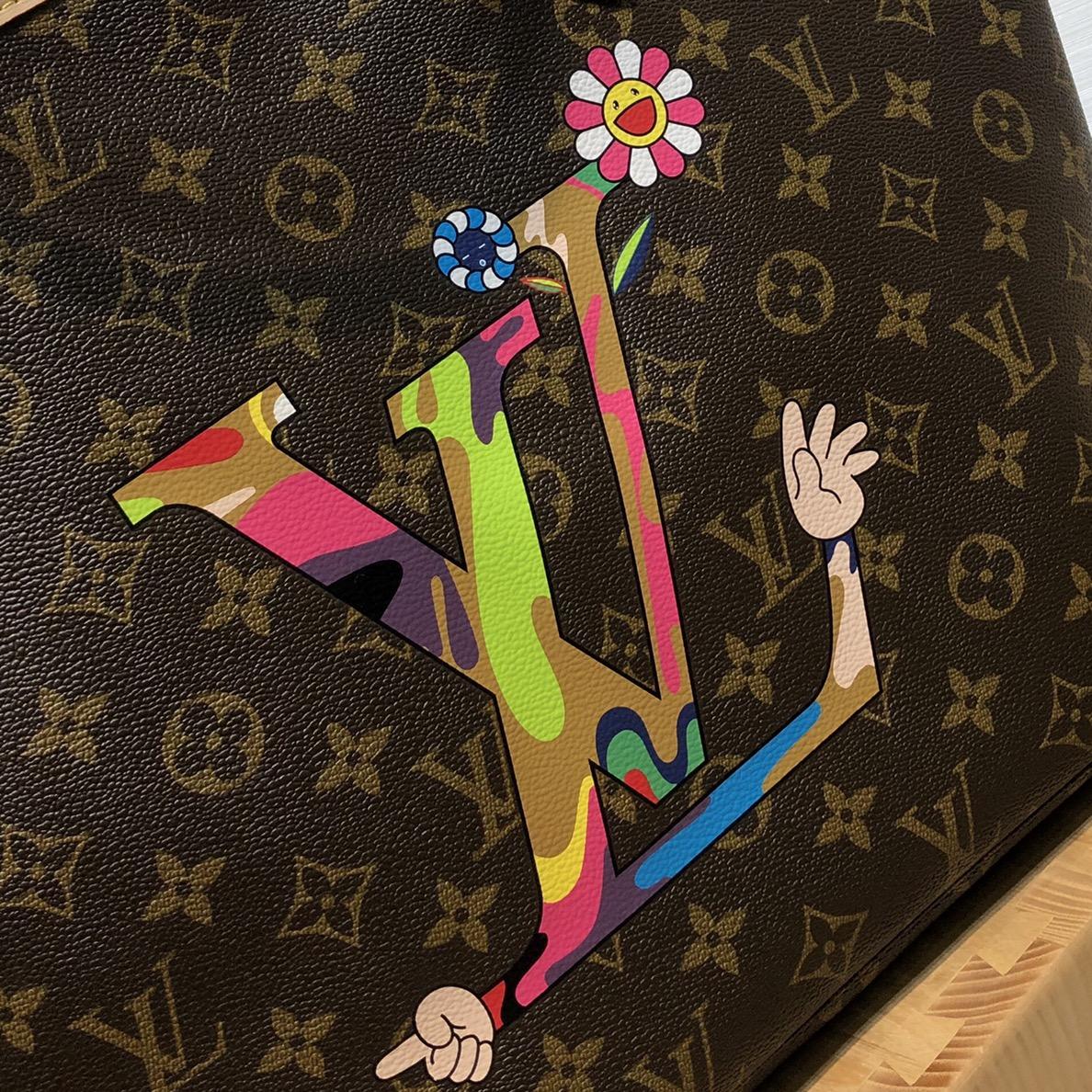 【¥1100】路易威登官网 LV村上隆合作限量款购物袋50710 调皮可爱且独特的风格设计