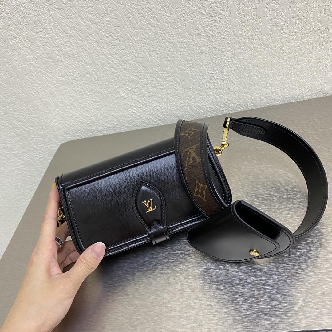【¥1130】LV新款多功能三件套69841 牛皮和老花拼接的可调节肩带 零钱包可拆卸可滑动